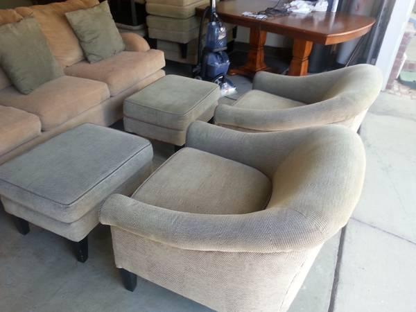 Living Room Set Sofa Two Chairs With Ottoman For In