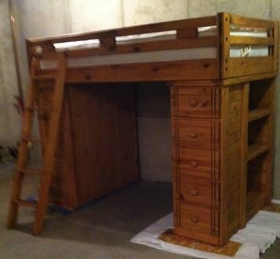 Loft Bunk Bed With Desk 5 Drawers 3 Shelves