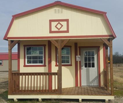 Lofted cabin shell 14x28 with porch Portable Building for ...