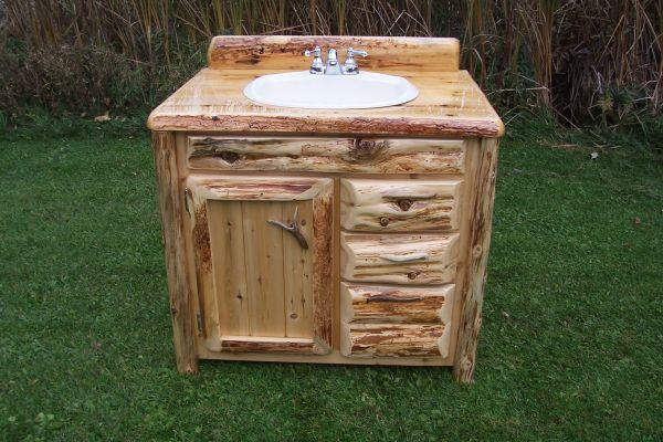 Log Home Rustic Cedar Bathroom Vanity Drummond Island