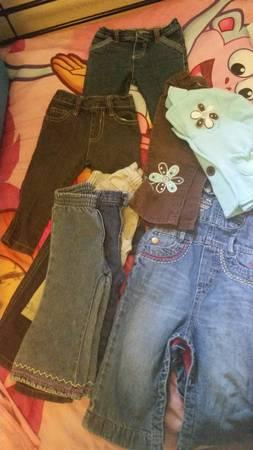 Lot of 20+ Little girl's 12mos jeans, Smoke free home -