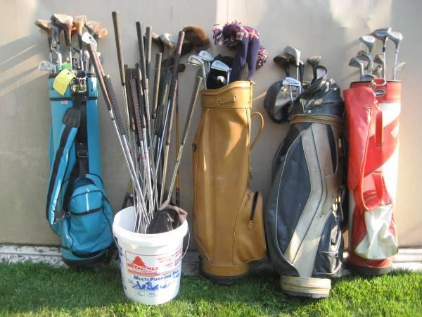 Lot of vintage golf clubs  caddy bags - $15