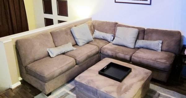 Amazing Lounge 3 Piece Microfiber Armless Sectional Sofa Ottoman Onthecornerstone Fun Painted Chair Ideas Images Onthecornerstoneorg