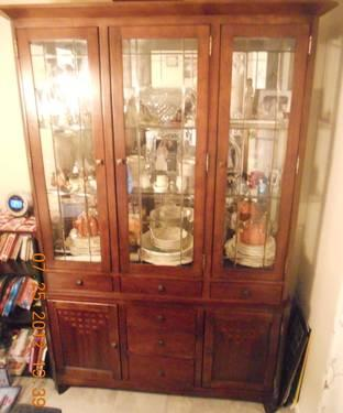 Lovely Cherry Wood China Cabinet For Sale In Drexel Hill