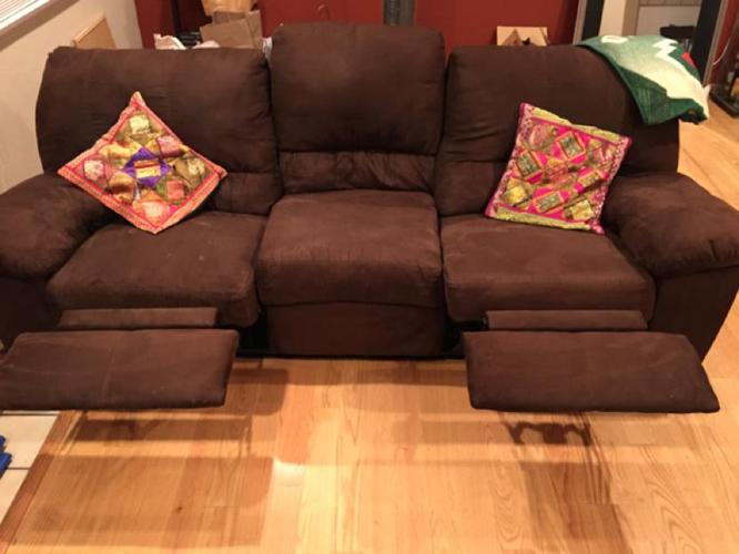 Lovely comfy ashley reclining sofa for sale dark brown for for Comfy couches for sale