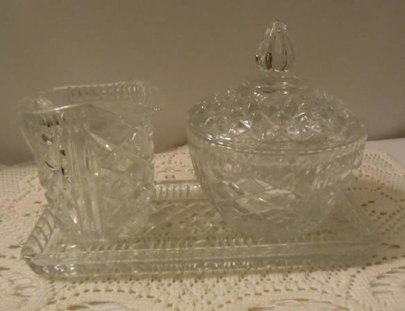 Lovely Pressed Glass Cream and Sugar with Tray Vintage - $6