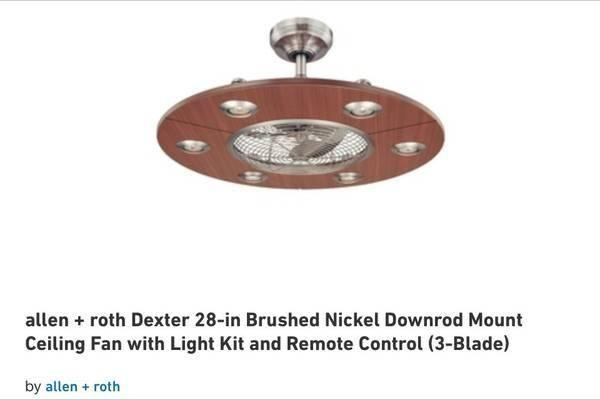 Lowes allen roth dexter 28 brushed nickel downrod ceiling fan lowes allen roth dexter 28 aloadofball
