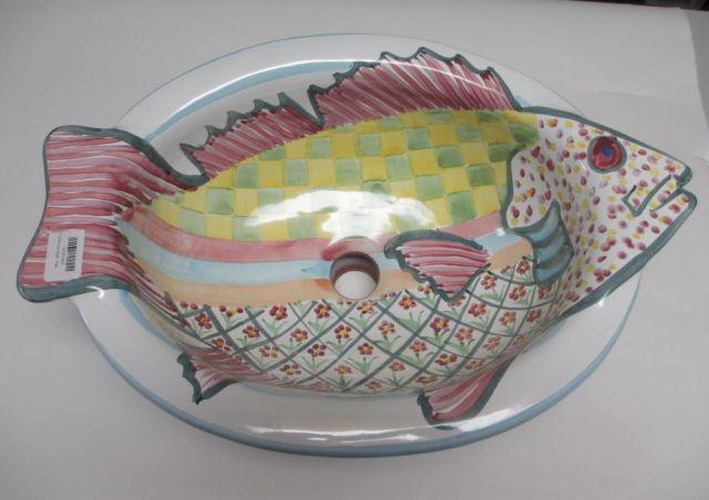 Mackenzie Childs Pink Fish Sink Discontinued Model For