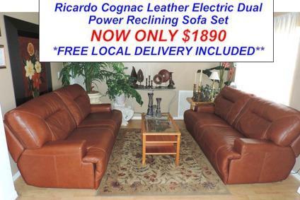 Macy S Ricardo Cognac Leather Dual Power Reclining Sofa