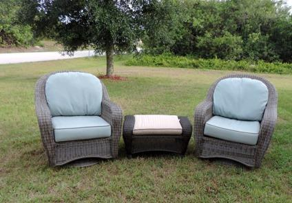 Macy S Sandy Cove Three Pc Outdoor Wicker Chair Set For