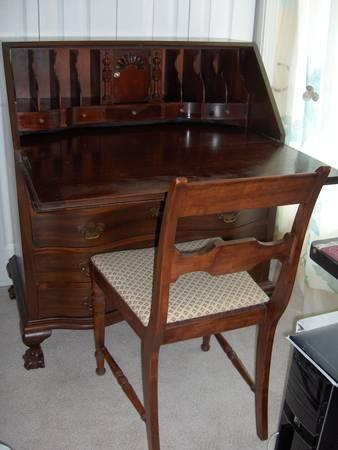 maddox antique mahogany wood slant front desk drawers ball claw feet for sale in lynchburg. Black Bedroom Furniture Sets. Home Design Ideas