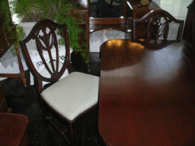 Mahogany Dining Set Table,Chairs,Buffet, China Cabinet