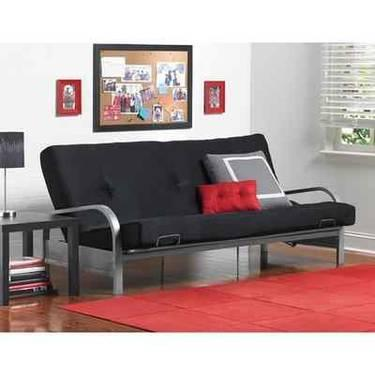 Mainstays Metal Arm Futon Frame Silver with Black Mattress