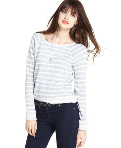 Maison Jules Sweater, Long-Sleeve Scoop-Neck Striped