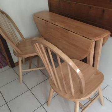 Maple Drop Leaf Round Kitchen Table X Two Chairs