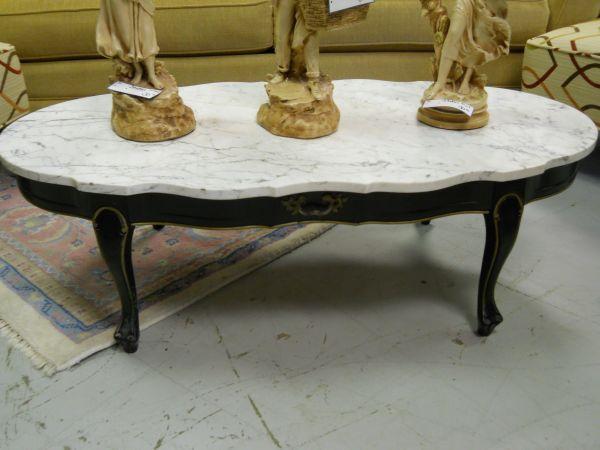 Marble Top Coffee Table W/ Black Wood Base   $100