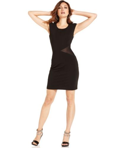 Marciano Dress, Sleeveless High-Neck Bandage Mesh Mini