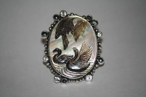 Mars and Valentine Swan Ring - Excuisitely Hand-Carved Mother of Pearl