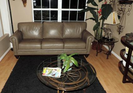 Martha Stewart Design Marble Leather Sofa For Sale In