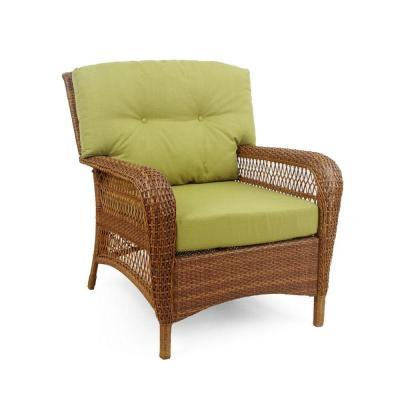 wicker patio lounge chair with green bean cushions for sale in powder