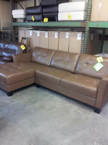 Martino 2 Pc All Leather Sectional New 1099 00 Brown
