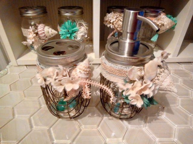 Mason Jar Collection of Beach Style Dispensers, Vases,