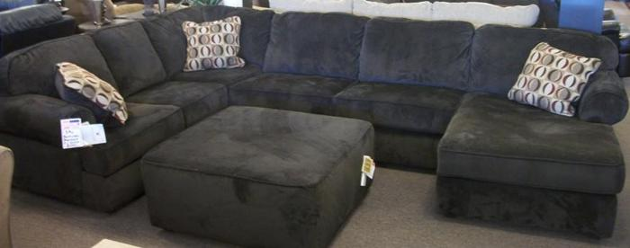 Massive 3 Piece Corduroy Sectional Which Includes Ottoman