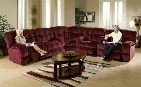 Massive Burgundy Reclining Sofa Or Loveseat Columbus