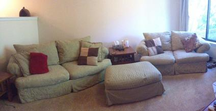 Matching couch, love seat, ottoman, and throw pillows