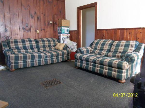 Matching green ivory red plaid sofa loveseat - Plaid para sofa ...