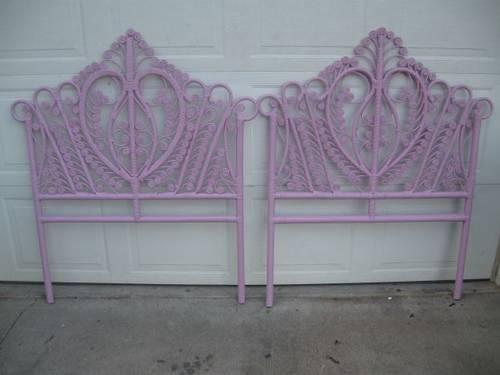 Matching Pink Twin Wicker Headboards Or Will Make One King