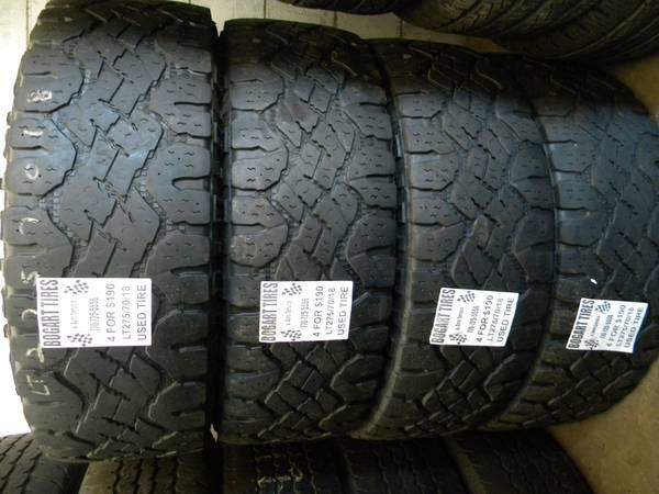 Matching Set of Four LT275/70/18 and 255/65/18 - $190