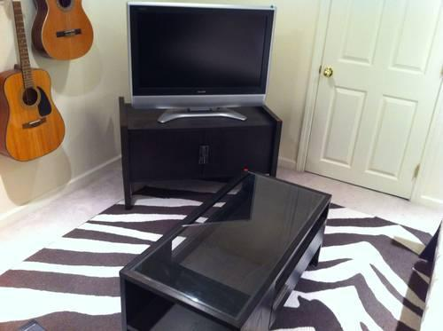 Matching West Elm coffee table and entertainment center