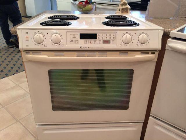 maytag white slide in electric range stove oven used for sale in tacoma washington classified. Black Bedroom Furniture Sets. Home Design Ideas