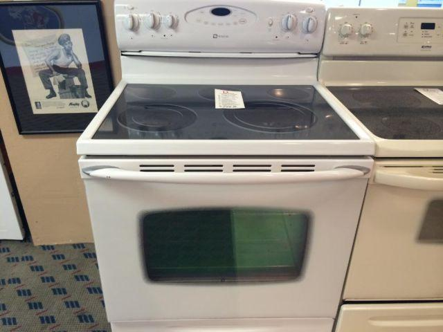 Maytag White Smooth Glass Top Range Stove Oven Used For