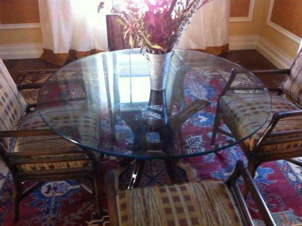 Mcguire style glass top round table and 4 upholstered