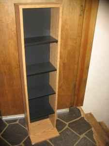 Media Storage Tower Shelf Unit DVD CD VHS Oak 45x6x11