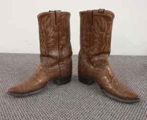 Men S Justin Western Boots Genuine Sea Turtle Leather