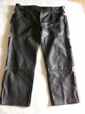 Mens Black Harley Davidson Leather Pants Size 46 Reg,