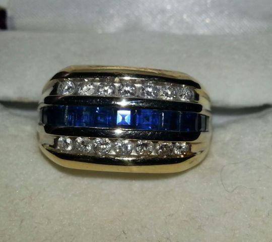 New Acura Dealership In Delray Beach Fl 33483: Mens Diamond/Saphire TwoToned Wedding Ring Size 10/11