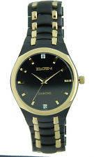 Mens-Elgin FG8021 Men's Black IP/Gold-Tone Watch with