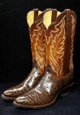 Mens Justin Genuine Alligator Amp Leather Western Cowboy