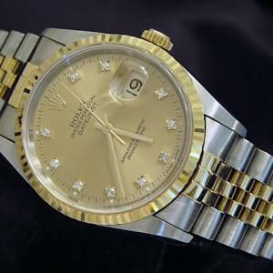 Mens Rolex DateJust 2tone 18k Gold/SS Watch w/Gold