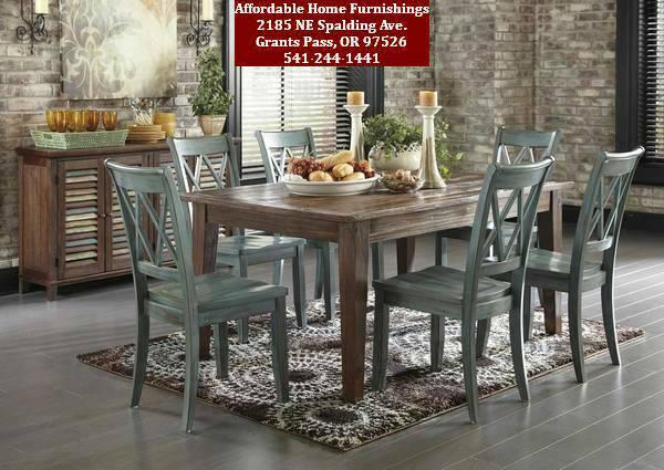 Mestler dark brown dining table w 6 antique chairs for for Affordable furniture grants pass oregon