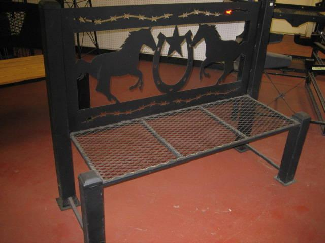 Metal and Wood Horse Bench