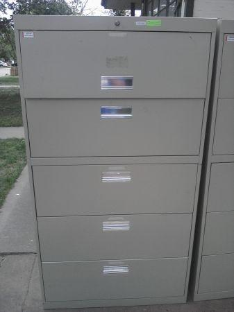 Metal Lateral File Cabinet   4 Drawers Plus 1 Storage