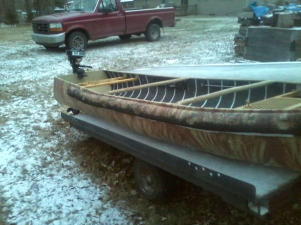 Meyers sportspal aluminum square back canoe with 5 hp for Outboard motors for sale in michigan