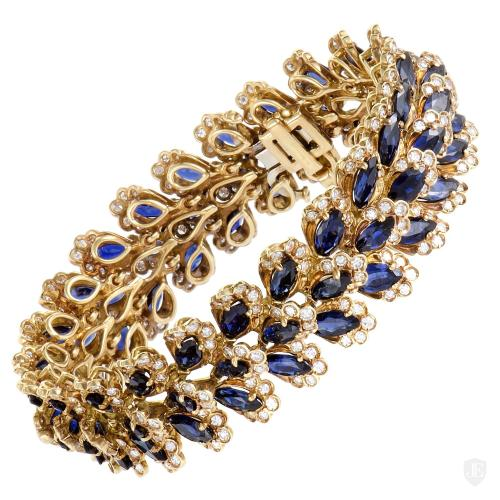 MFCO 18K Yellow Gold Diamond and Sapphire Bracelet