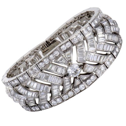 MFCO French Hallmarked Platinum Full Diamond Pave