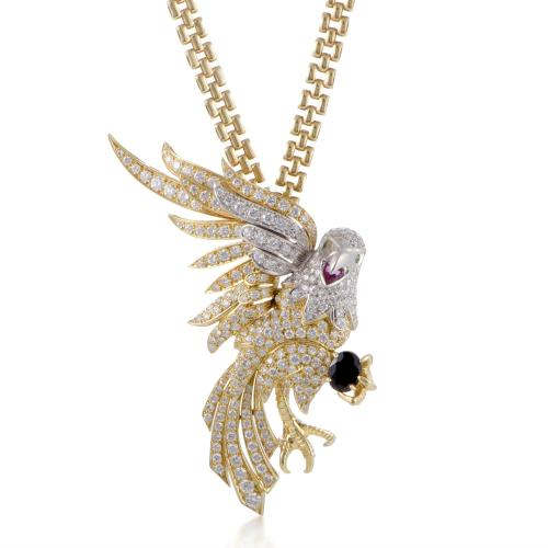MFCO Womens 18K Gold Diamond Sapphire Emerald and